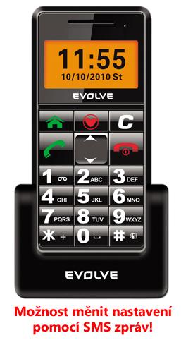 GSM mobilní telefon EVOLVEO Easy s dobíjecím stojánkem (velký displej,snadné ovládání,SOS tlačítko,baterka,černý)
