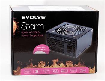 Zdroj 600W EVOLVEO Storm, EPS 12V 2.91/ATX 2.2, tichý, 12cm fan, akt. PFC, eff> 80%, 4xSATA, 2x PCIe 6+2, černý, retail