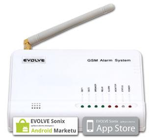 EVOLVEO Sonix - bezdrátový GSM alarm (4 ks dálk. ovlád.,PIR,čidlo na dveře/okno, externí repro,Android/iPhone)