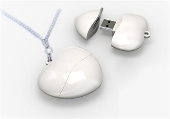 Pendrive srdce bílá barva, 4GB, USB 2.0