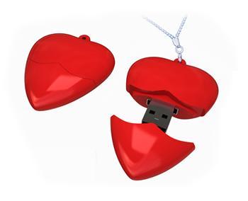 Pendrive srdce červená barva, 4GB, USB 2.0 - EVOLVE