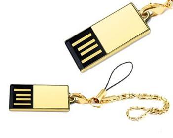 Pendrive miniaturní, zlatá barva, 4GB, USB 2.0