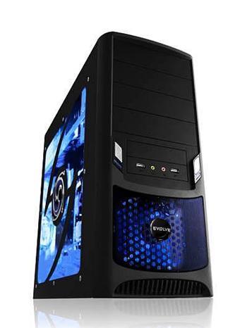 EVOLVEO TORNADO case, ATX, prosklený bok, černý, bez zdroje, 2x80mm a 1x 120mm tichý větrák