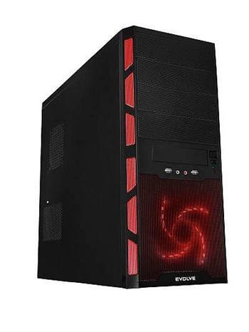 EVOLVEO CYCLONE case, ATX, černo-červený, bez zdroje, 1x 120mm a 1x80mm tichý větrák