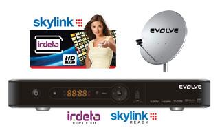HD sat. komplet EVOLVEO BlackStar HD + Skylink Standard HD karta Irdeto (balíček Multi a HD Plus)