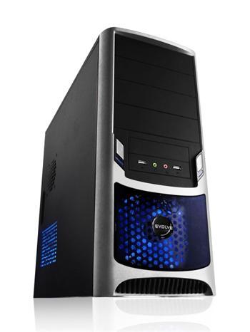 EVOLVEO TORNADO case, ATX, plný bok, černo-stříbrný, bez zdroje, 2x80mm a 1x 120mm tichý větrák