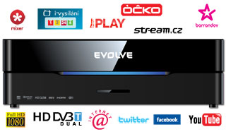 EVOLVEO Blade DualCorder HD 2TB (2x HD DVB-T tuner/Internet/YouTube/1080p/MKV/1GB LAN/WiFi/USB 3.0/Dolby/DTS/HDMI)