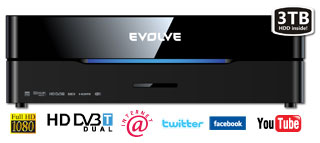EVOLVEO Blade DualCorder HD 3TB (2x HD DVB-T tuner/Internet/YouTube/1080p/MKV/1GB LAN/WiFi/USB 3.0/Dolby/DTS/HDMI)