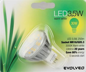 EVOLVEO EcoLight, LED žárovka 3,5W, patice MR16 (GU5.3), blister