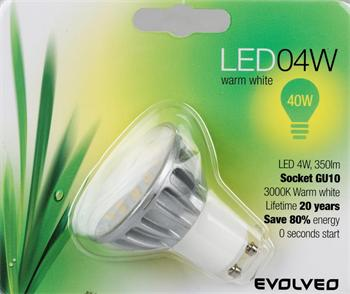 EVOLVEO EcoLight, LED žárovka 4W, patice GU10, 120°, blister