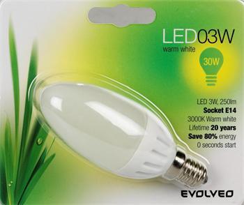 EVOLVEO EcoLight, LED žárovka - svíčka 3W, patice E14, blister
