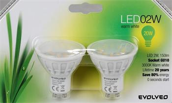 EVOLVEO EcoLight, 2x LED žárovka 2W, patice GU10, blister