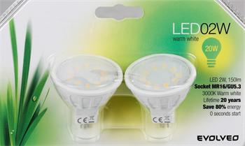 EVOLVEO EcoLight, 2x LED žárovka 2W, patice MR16 (GU5.3), blister