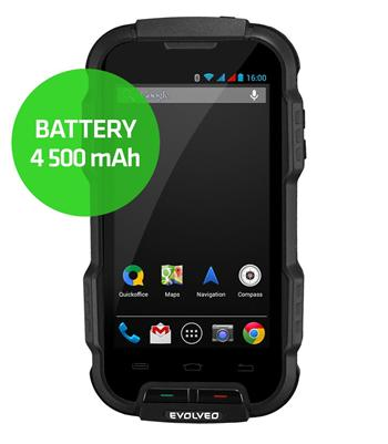 EVOLVEO StrongPhone Q4 s 4 500 mAh baterií, vodotěsný odolný Android Quad Core smartphone