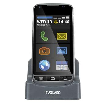 EVOLVEO EasyPhone D2, Android smartphone with easy operation and charging stand
