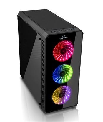 EVOLVEO RAY 5RB, case ATX, 3x RGB rainbow ventilátor