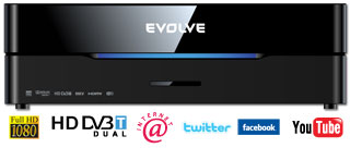 EVOLVEO Blade DualCorder HD (2x HD DVB-T tuner/Internet/YouTube/1080p/MKV/1GB LAN/WiFi/USB 3.0/Dolby/DTS/HDMI)