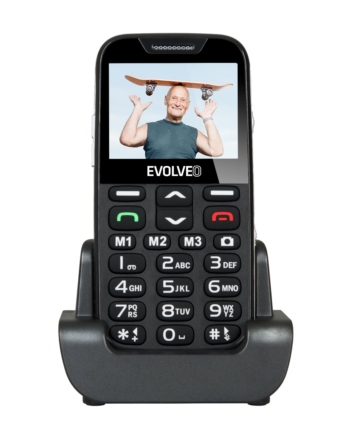 EVOLVEO EasyPhone XD, a mobile phone for seniors with a charging stand, black