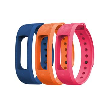 EVOLVEO FitBand B2, replacement colour strips, 1x blue, 1x orange and 1x pink colour