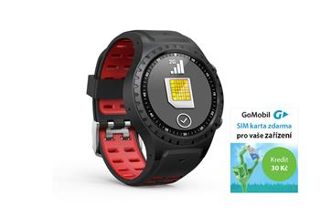 EVOLVEO SportWatch M1S, Smart SportWatch with SIM support, red and black bracelet.