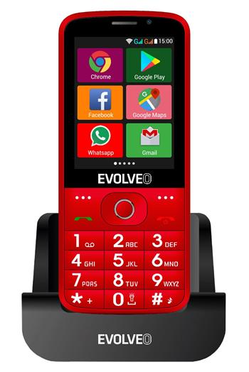 EVOLVEO EasyPhone AD, a smart mobile phone for senior citizens with a charging stand (red colour)