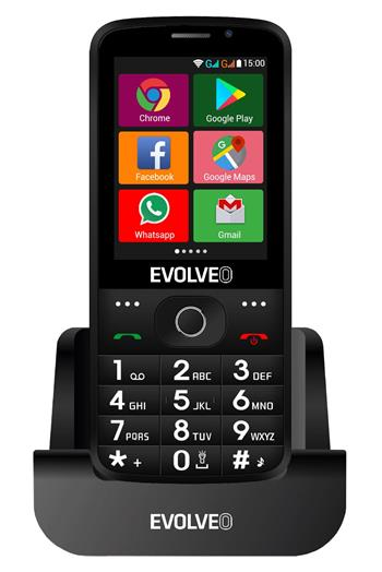 EVOLVEO EasyPhone AD, a smart mobile phone for senior citizens with a charging stand (black colour)