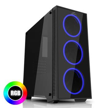 EVOLVEO Ray 2RB, case ATX, 3x RGB rainbow ring fan
