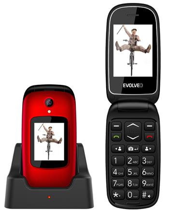EVOLVEO EasyPhone FD, a mobile phone for senior citizens with a charging stand (red colour)
