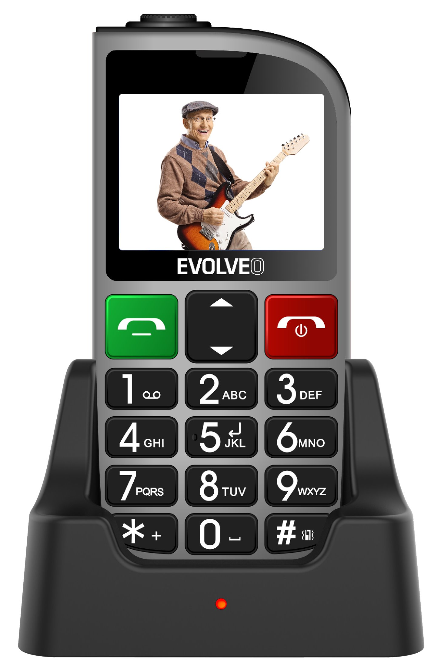 EVOLVEO EasyPhone FM, a mobile phone for senior citizens with a charging stand (silver colour